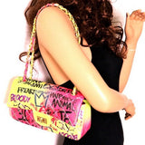 GRAFFITI QUILTED 2-WAY HANDBAG