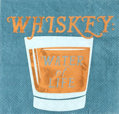 WHISKEY: WATER OF LIFE - BEVERAGE NAPKIN - Royal Birkdale Boutique