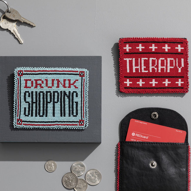 DRUNK SHOPPING BEADED CARD HOLDER - Royal Birkdale Boutique