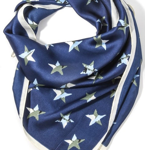 CAMO STAR SCARF - BLUE - Royal Birkdale Boutique