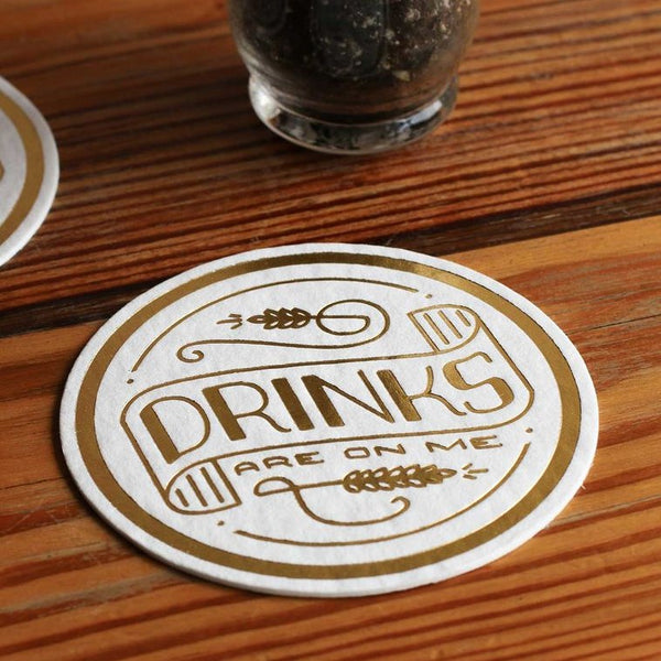 DRINKS ARE ON ME COASTERS - SET OF 8 - Royal Birkdale Boutique