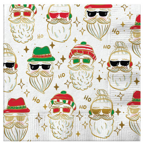 HIPSTER SANTA - NAPKINS - Royal Birkdale Boutique
