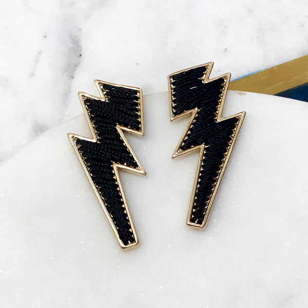 THREADED LIGHTNING BOLT EARRINGS - Royal Birkdale Boutique