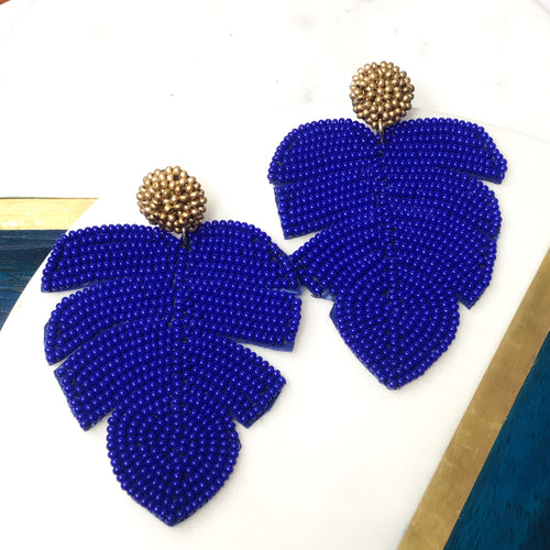 BEADED PALM LEAF EARRINGS - Royal Birkdale Boutique