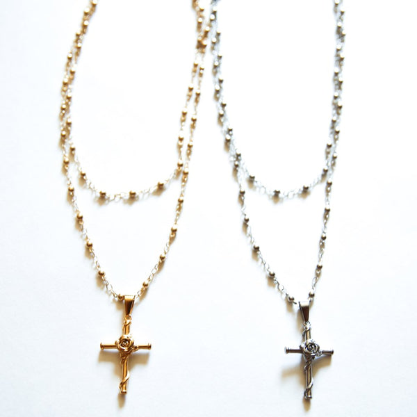 THE ROSE CROSS NECKLACE - Royal Birkdale Boutique