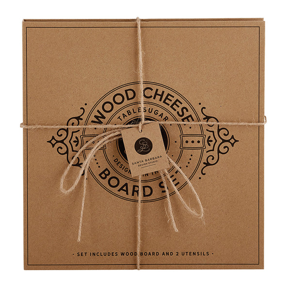 WOOD CHEESE BOARD - CARDBOARD BOOK SET