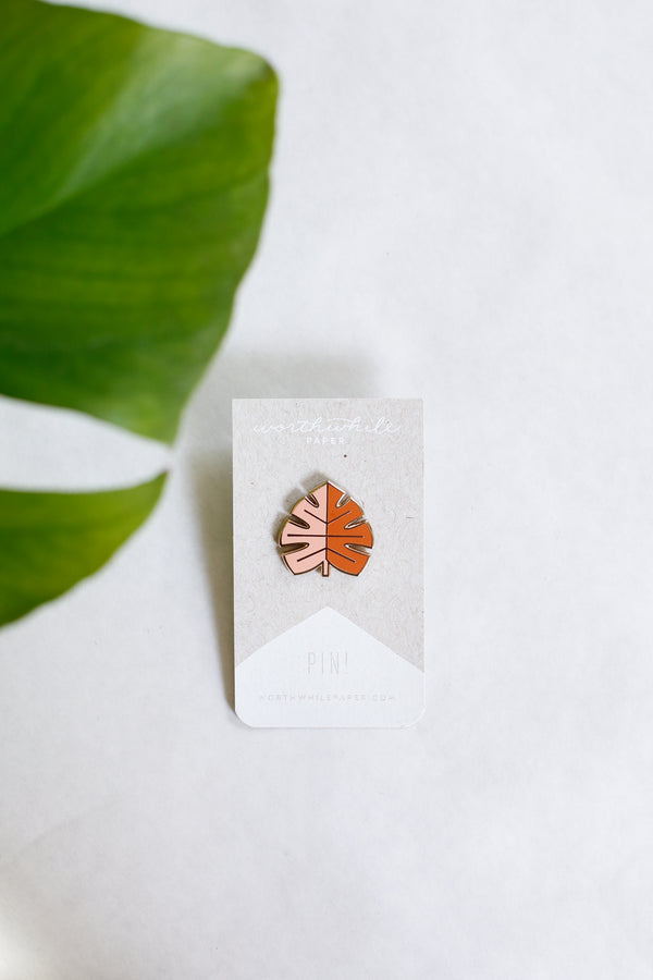 Blush Monstera Pin
