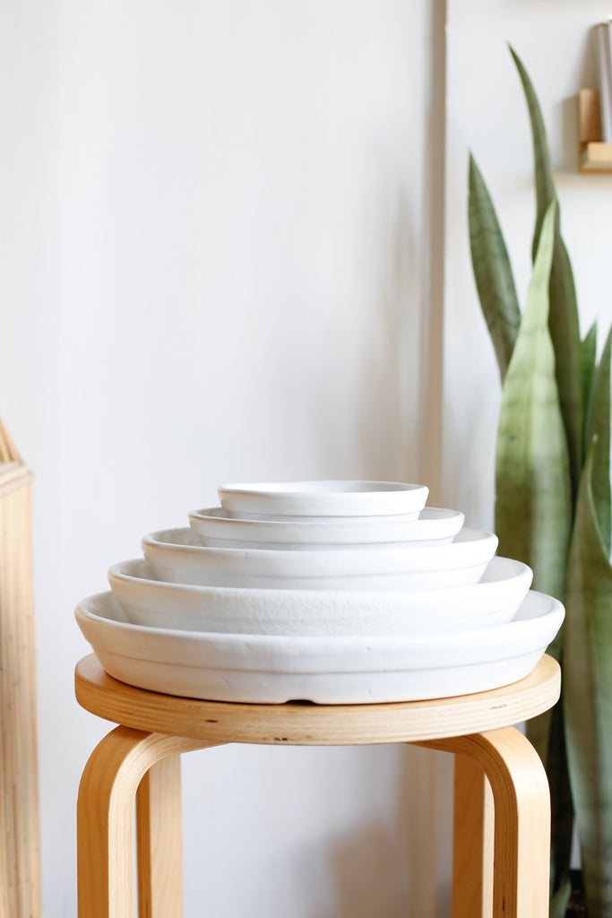 Saucer For Classic Cylinder Planter- Matte White