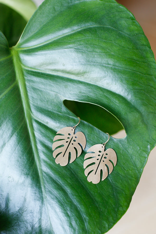 Monstera Cut-Out Earrings
