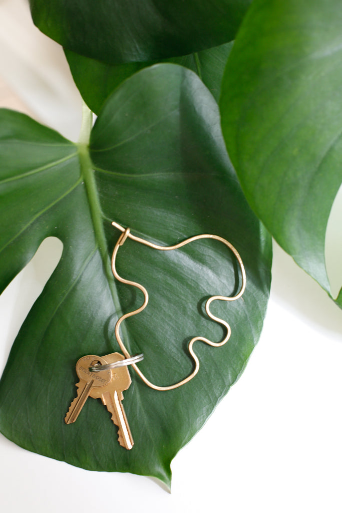 Brass Monstera Key Ring