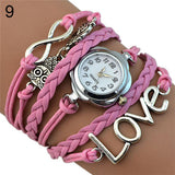 Women's Infinity Love Owl Bracelet Wrist Watch (9 Different Colors)