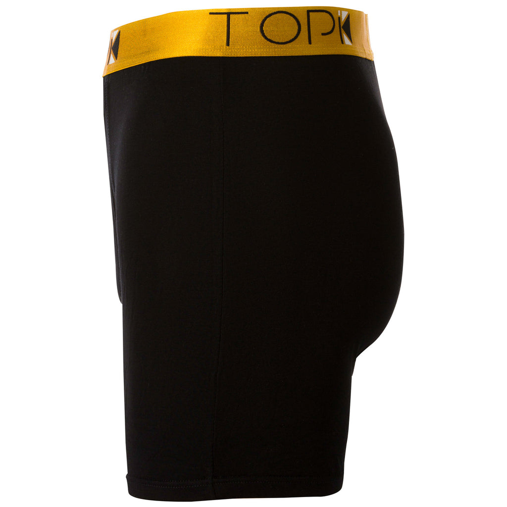 Side of black TOPIK boxer briefs with gold waistband.
