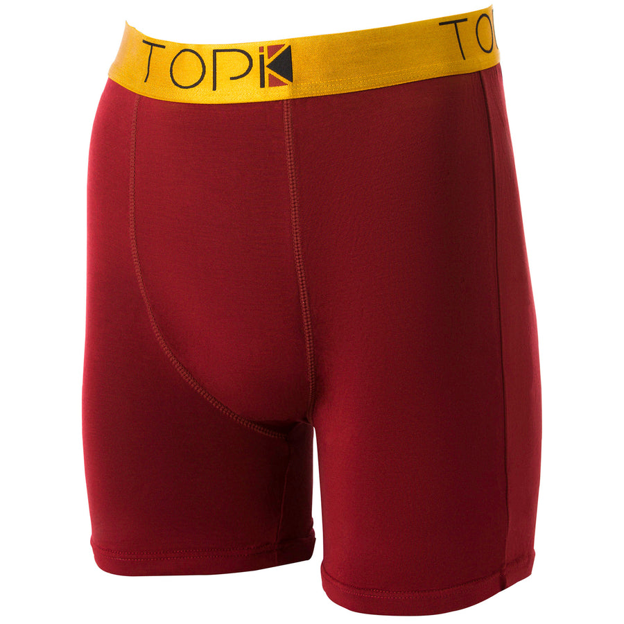 Burgundy TOPIK boxer briefs with gold waistband.