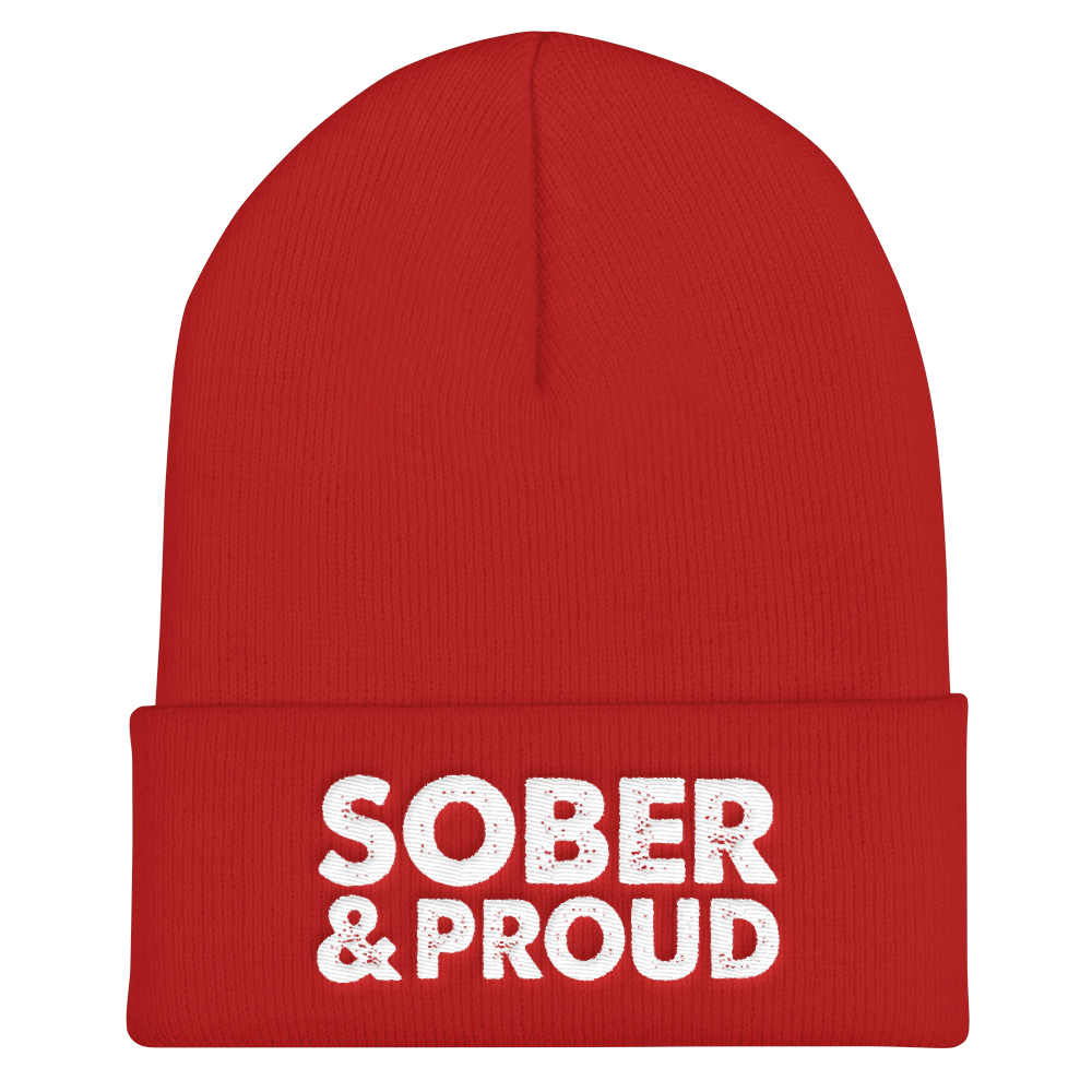 Sober & Proud Cuffed Beanie - Red