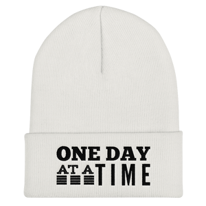 One Day at a Time Cuffed Beanie - White