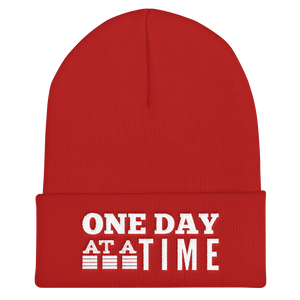 One Day at a Time Cuffed Beanie - Red