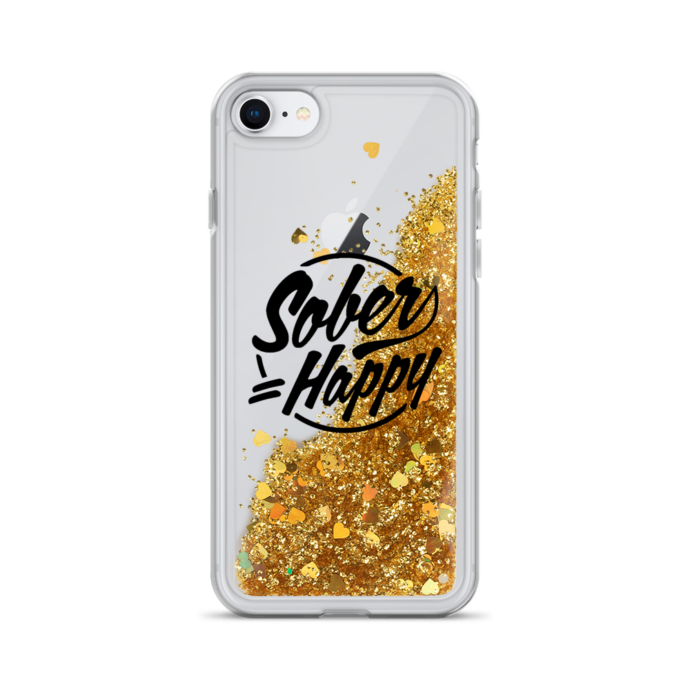 Sober Equals Happy - Liquid Glitter Phone Case