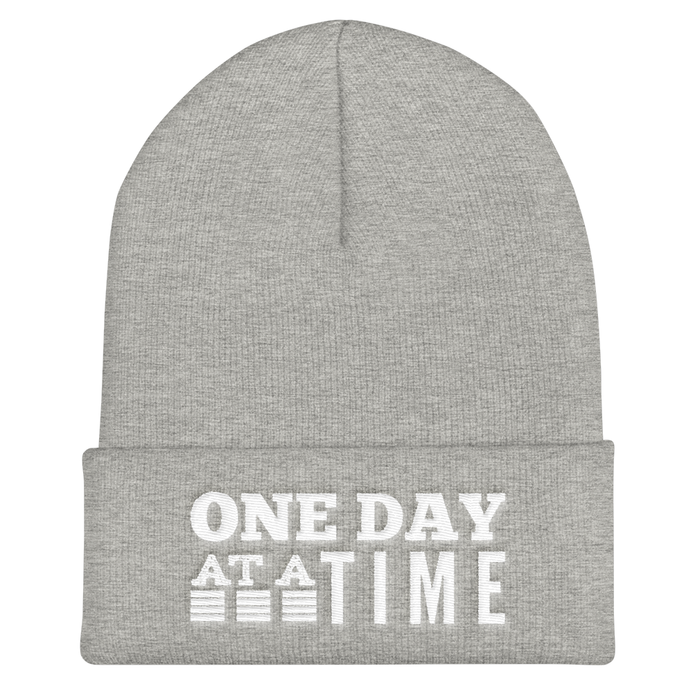 One Day at a Time Cuffed Beanie - Heather Grey