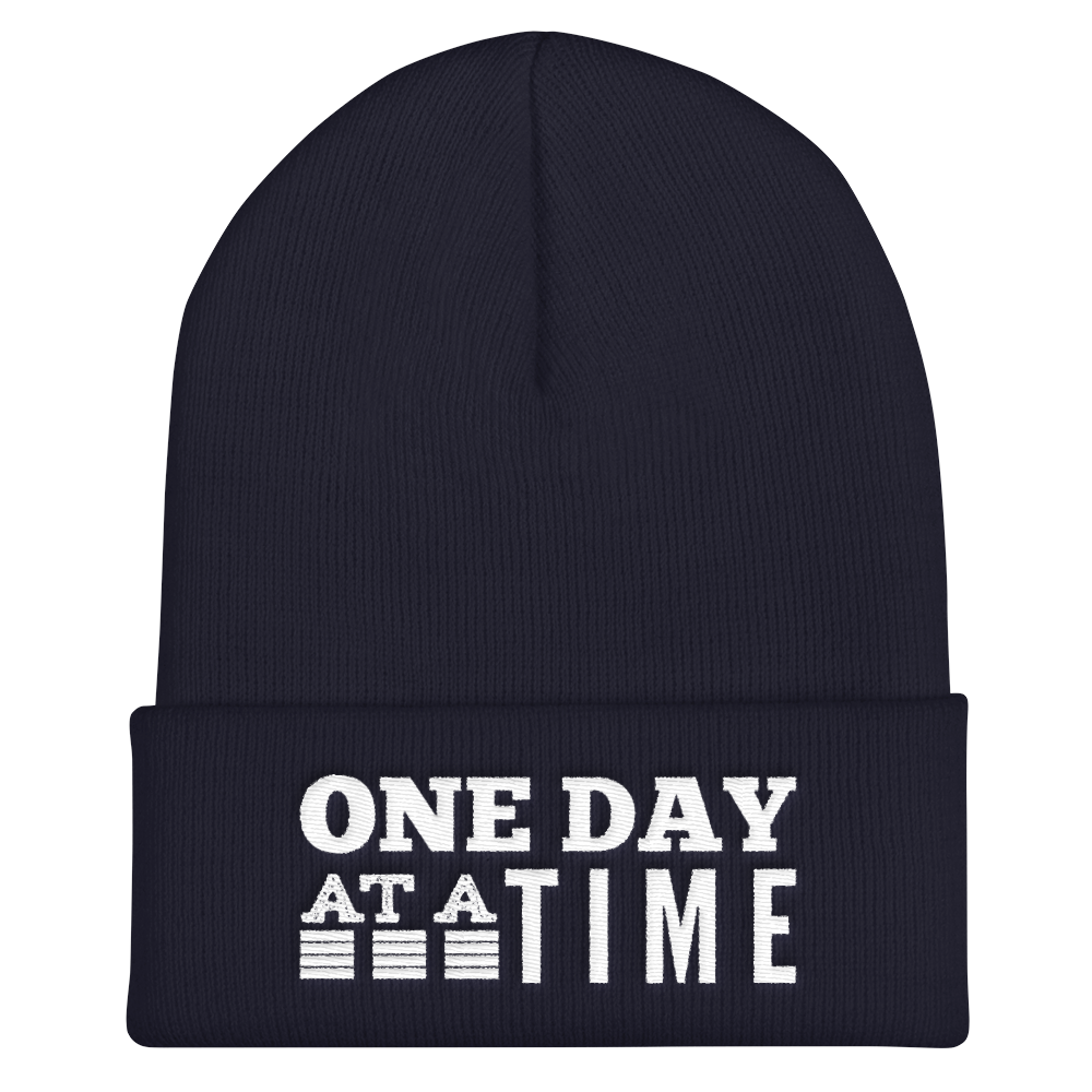 One Day at a Time Cuffed Beanie - Navy