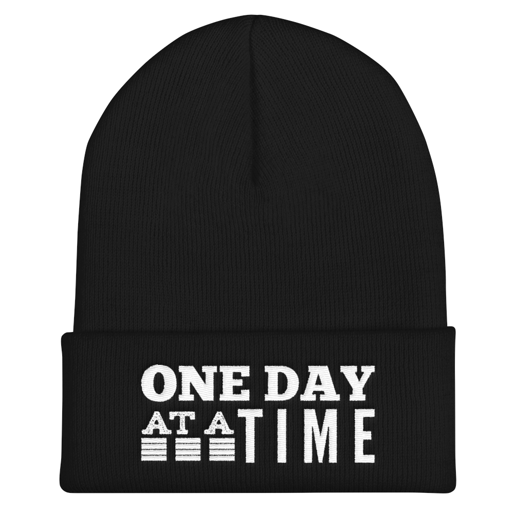 One Day at a Time Cuffed Beanie - Black