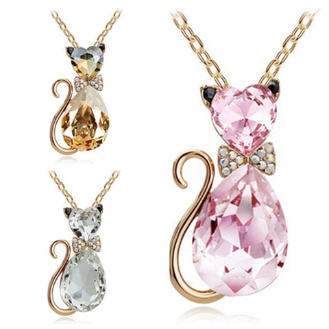 Heart  & Teardrop Crystal Cat Chain Necklace