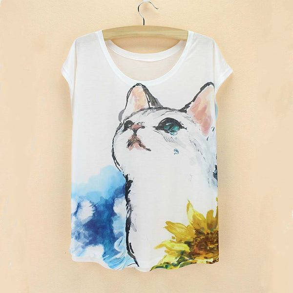 Summer's Stylish Cartoon Cat T-Shirts