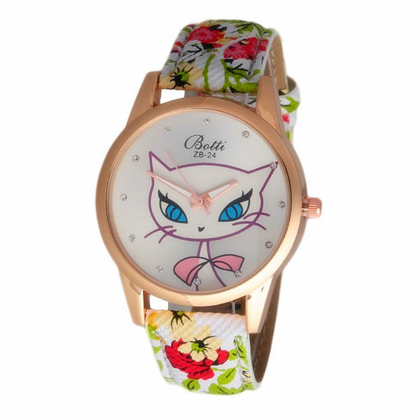 Cat Leather Strap Dress Watch For Ladies