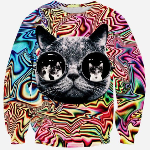 Black Cat Head 3D Sweater
