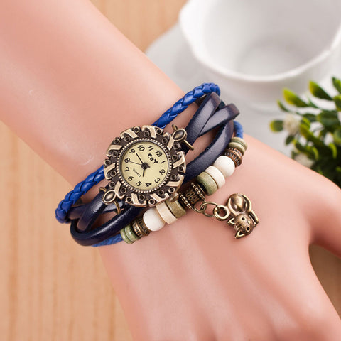 Cat Leather Vintage Bracelet Bangle Wrist Watch