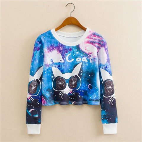 Cat with Sunglasses Fashion Long Sleeved Short Sweater