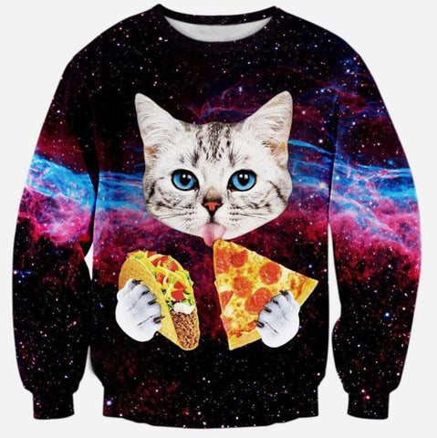 Cat Love Pizza 3D Sweater