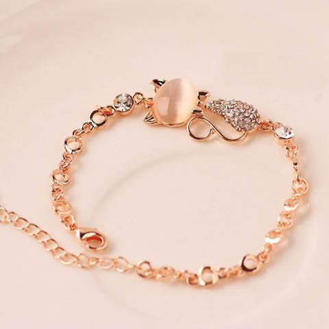 Charms Rose Gold Crystal Bracelet
