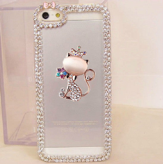 Crystal Cat Crown Phone Case for Samsung & iPhone