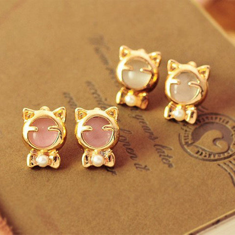 Cute Pearl Cat Earrings