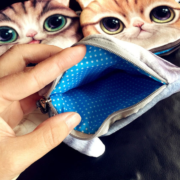 Cute With Tail Cat Face Coin Purse
