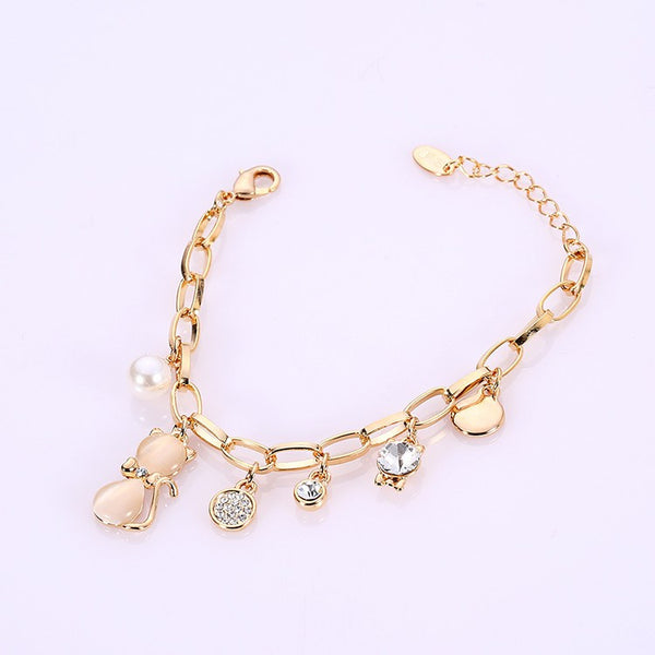 Fashion Gold Plated Opal And Crystal Cat Bracelet