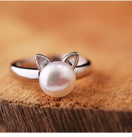 925 Sterling Silver Cute Cat Imitation Pearl Ring