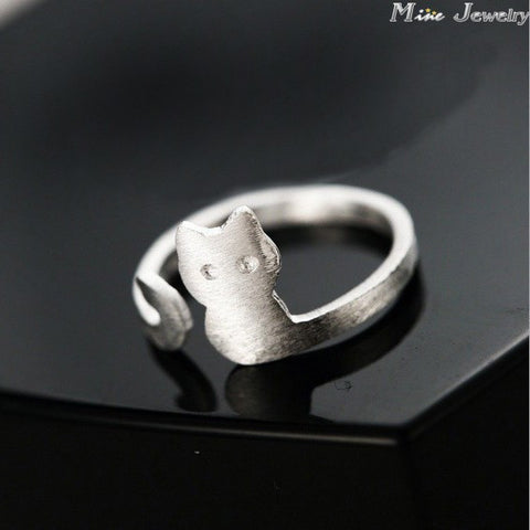 Pure 925 Sterling Silver Cat Ring