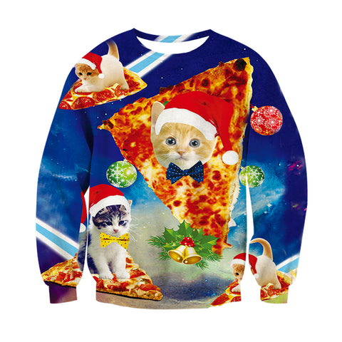 3D Christmas Cat Pizza Sweater