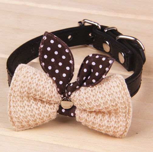 Knit Bowknot Adjustable Cat Collars