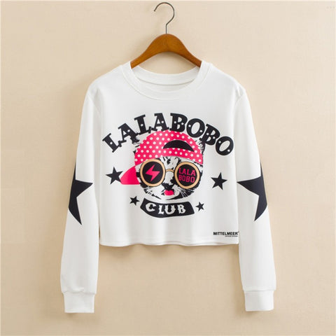 LALA BOBO Cat Fashion Long Sleeved Short Sweater
