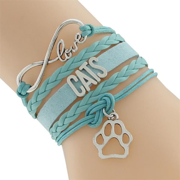 Leather Wrap Infinity Love Cats Sole Bracelet