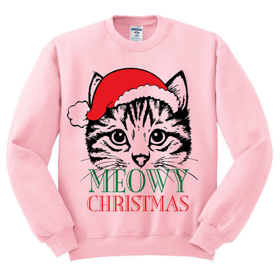 MEOWY Christmas Cat Loose Long Sleeved Sweaters