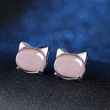 Rose Quartz Crystal Pink Cat Earrings