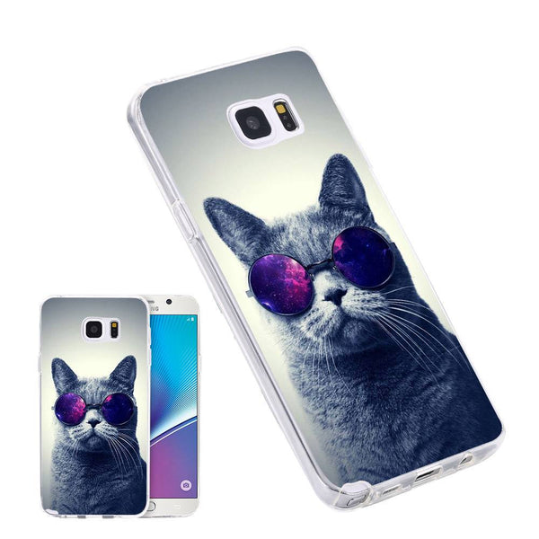 Silicone Sunglasses Cat Phone Case for Samsung & iPhone