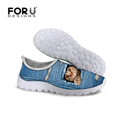 Stylish Cat Desing Slip On Running Shoes