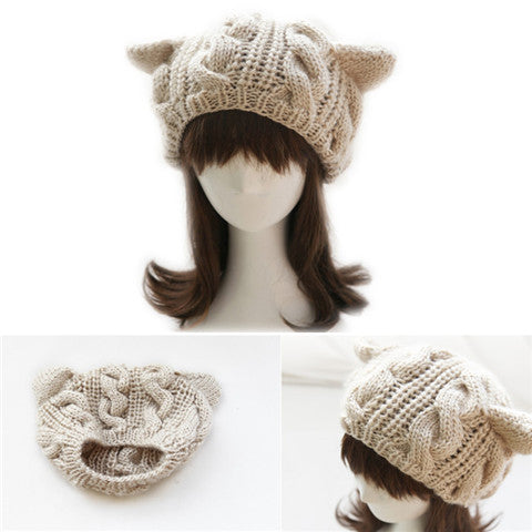 Winter Warm Knitting Wool Cat Hat & Beanie