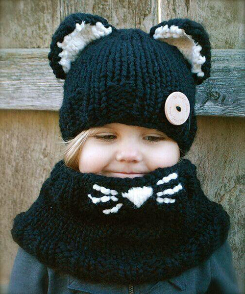 Kids Knit Wool Cat Beanie + Hooded Shawl Cowl