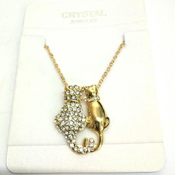 Rhinestones Cat Couple Necklace
