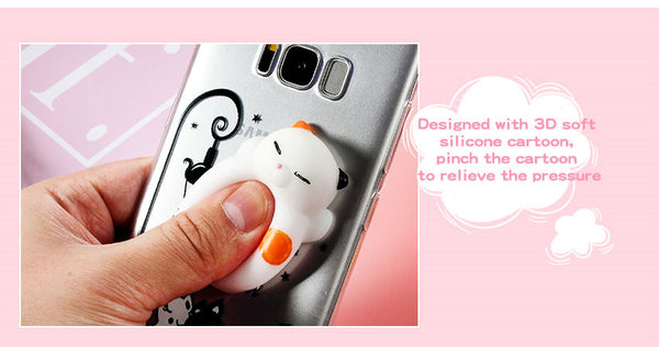 3D Squishy Sleeping Cat Phone Case for SAMSUNG